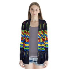 Colorful bang Drape Collar Cardigan