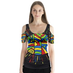 Colorful bang Butterfly Sleeve Cutout Tee