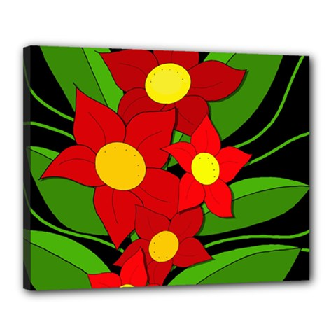 Red flowers Canvas 20  x 16