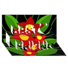 Red flowers Best Friends 3D Greeting Card (8x4)