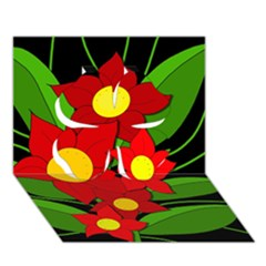 Red flowers Clover 3D Greeting Card (7x5)