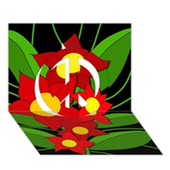 Red flowers Peace Sign 3D Greeting Card (7x5)