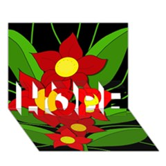 Red flowers HOPE 3D Greeting Card (7x5)