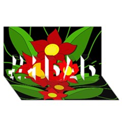 Red flowers #1 DAD 3D Greeting Card (8x4)