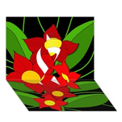 Red flowers Ribbon 3D Greeting Card (7x5)