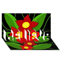 Red Flowers Believe 3d Greeting Card (8x4)