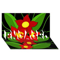 Red flowers ENGAGED 3D Greeting Card (8x4)