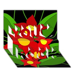 Red flowers You Rock 3D Greeting Card (7x5)
