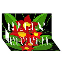 Red flowers Happy New Year 3D Greeting Card (8x4)