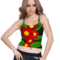Red flowers Spaghetti Strap Bra Top