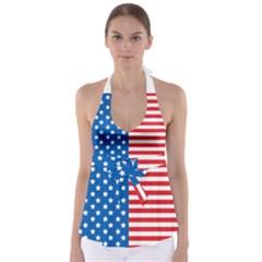 Usa Flag Babydoll Tankini Top