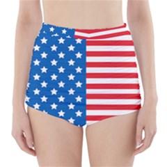 Usa Flag High-Waisted Bikini Bottoms