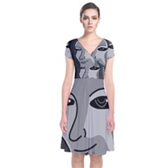 Lady - gray Short Sleeve Front Wrap Dress