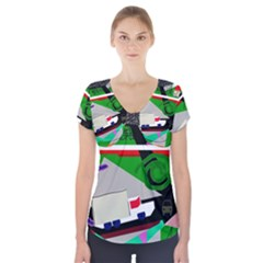 Trip Short Sleeve Front Detail Top