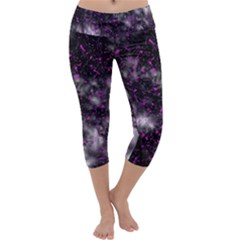Black, Pink And Purple Splatter Pattern Capri Yoga Leggings