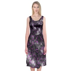 Black, Pink And Purple Splatter Pattern Midi Sleeveless Dress