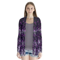 Black, Pink And Purple Splatter Pattern Drape Collar Cardigan