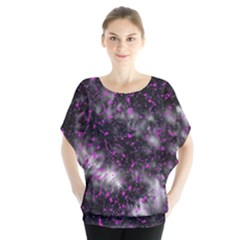 Black, Pink And Purple Splatter Pattern Blouse