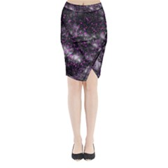 Black, Pink And Purple Splatter Pattern Midi Wrap Pencil Skirt