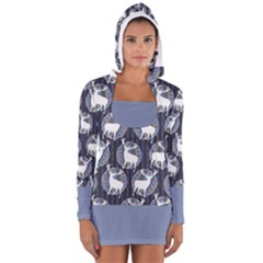 Geometric Deer Retro Pattern Women s Long Sleeve Hooded T Shirt