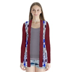 Pompey Brickwall And Burgundy Drape Collar Cardigan