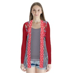 Red Flowers with Red and Polkadot Drape Collar Cardigan