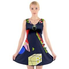 Gift V-Neck Sleeveless Skater Dress