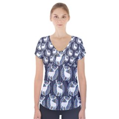 Geometric Deer Retro Pattern Short Sleeve Front Detail Top