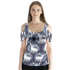 Geometric Deer Retro Pattern Butterfly Sleeve Cutout Tee