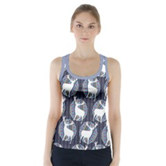 Geometric Deer Retro Pattern Racer Back Sports Top