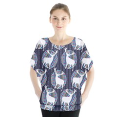 Geometric Deer Retro Pattern Batwing Chiffon Blouse