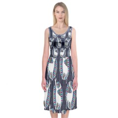 Geometric Deer Retro Pattern Midi Sleeveless Dress