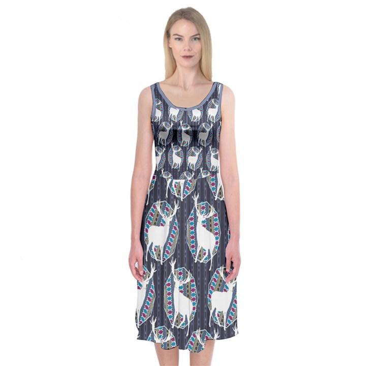 Geometric Deer Retro Pattern Midi Sleeveless Dress