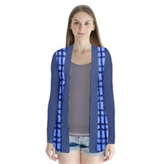 Blue Plaid Drape Collar Cardigan
