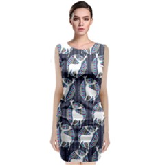 Geometric Deer Retro Pattern Classic Sleeveless Midi Dress