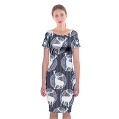 Geometric Deer Retro Pattern Classic Short Sleeve Midi Dress