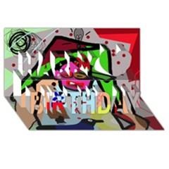 Quarreling Happy Birthday 3D Greeting Card (8x4)