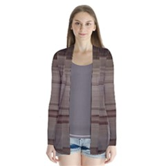 Wooden Stripes Drape Collar Cardigan