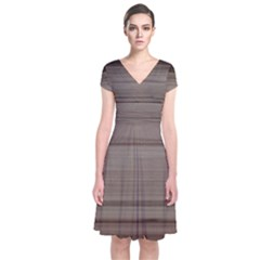 Wooden Stripes Short Sleeve Front Wrap Dress