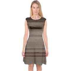 Wooden Stripes Capsleeve Midi Dress