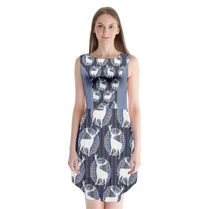 Geometric Deer Retro Pattern Sleeveless Chiffon Dress