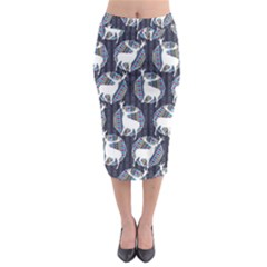 Geometric Deer Retro Pattern Midi Pencil Skirt
