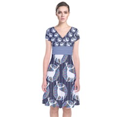 Geometric Deer Retro Pattern Short Sleeve Front Wrap Dress