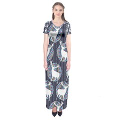 Geometric Deer Retro Pattern Short Sleeve Maxi Dress