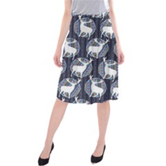 Geometric Deer Retro Pattern Midi Beach Skirt