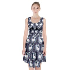 Geometric Deer Retro Pattern Racerback Midi Dress
