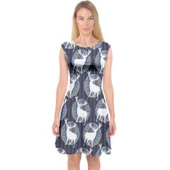 Geometric Deer Retro Pattern Capsleeve Midi Dress