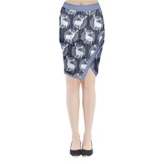 Geometric Deer Retro Pattern Midi Wrap Pencil Skirt