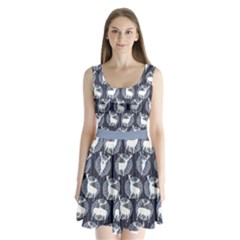 Geometric Deer Retro Pattern Split Back Mini Dress