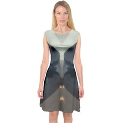 Abstract Reflections Grey Capsleeve Midi Dress